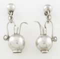 Silver Smalls:Other , A PAIR OF MEXICAN SILVER EARRINGS. William Spratling, Taxco,Mexico, circa 1940. Marks: WS, SPRATLING, MADE IN MEXICO, SPR...(Total: 2 Items)