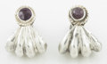 Silver Smalls:Other , A PAIR OF MEXICAN SILVER AND AMETHYST QUARTZ EARRINGS. WilliamSpratling, Taxco, Mexico, circa 1940. Marks: SPRATLING SILV...(Total: 2 Items)