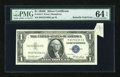 Error Notes:Attached Tabs, Fr. 1614 $1 1935E Silver Certificate. PMG Choice Uncirculated 64EPQ.. ...