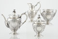 Silver & Vertu:Hollowware, AN AMERICAN COIN SILVER FOUR-PIECE TEA SET. Gorham Manufacturing Co., Providence, Rhode Island, circa 1856-1863. Marks: (lio... (Total: 4 Items)