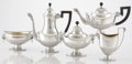 Silver Holloware, American:Tea Sets, AN AMERICAN SILVER, SILVER GILT AND WOOD FIVE-PIECE TEA SET.Tiffany & Co., New York, New York, circa 1886. Marks:TIFFANY... (Total: 5 Items)