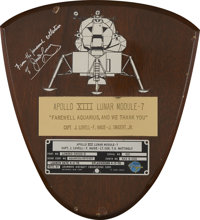 Apollo 13 Flown Lunar Module Spacecraft Identification Plate Display Directly from the Personal Collection of Mission Co...