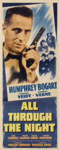 """Movie Posters:Action, All Through the Night (Warner Brothers, 1942). Insert (14"""" X 36"""")....."""