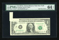 Error Notes:Foldovers, Fr. 1910-B $1 1977A Federal Reserve Note. PMG Choice Uncirculated64 EPQ.. ...