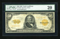 Large Size:Gold Certificates, Fr. 1200 $50 1922 Mule Gold Certificate PMG Very Fine 20....