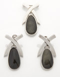 Silver Smalls:Other , A MEXICAN SILVER AND OBSIDIAN BROOCH AND EARRING SET. Antonio Pineda, Taxco, Mexico, circa 1955. Marks: (Antonio crown). 1-5... (Total: 3 Items)