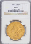 Liberty Double Eagles: , 1858-O $20 AU53 NGC. NGC Census: (36/52). PCGS Population (11/30).Mintage: 35,250. Numismedia Wsl. Price for NGC/PCGS coin...