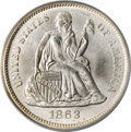 Seated Dimes, 1863-S 10C MS65 PCGS. CAC....