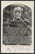 Autographs:Others, Circa 1950 Cy Young Signed Black & White Hall of Fame Plaque....