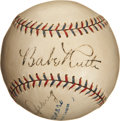 Autographs:Baseballs, Late 1920's Babe Ruth, Lou Gehrig and Bill Dickey Signed Baseball....