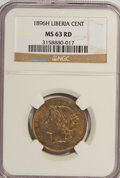 Liberia: , Liberia: NGC-certified copper Tropical 1896-H Trio.... (Total: 3coins)