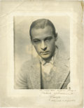 "Movie Posters:Miscellaneous, Rudolph Valentino by Henry Waxman (United Artists, 1920).Autographed Still (11"" X 14"").. ..."
