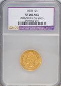 Three Dollar Gold Pieces: , 1878 $3 --Improperly Cleaned--NCS. XF Details. NGC Census: (15/4723). PCGS Population (41/4925). Mintage: 82,304. Numismedia...
