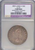 Early Half Dollars, 1803 50C Large 3, 12 Arrows--Improperly Cleaned--NCS. Fine Details.O-101, R.3 PCGS Population (0/3)...