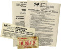 Music Memorabilia:Tickets, Beatles Fan Club Concert Ticket and Vouchers. Includes two officialBeatles Southern Area Fan Club notices regarding the De...
