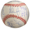 Autographs:Baseballs, No-Hit Club Baseball Signed by 19. Amazing array of a robust 19signatures have been penned on the currently offered OAL (B...