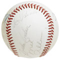 Autographs:Baseballs, Hall of Famers Baseball Signed by 10. Nice collection ofCooperstown inductees presented here as we includes a total often...