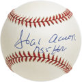 "Autographs:Baseballs, Hank Aaron ""755 HR"" Single Signed Baseball. A bold blue inkapplication of the current Home Run King's signature along with..."