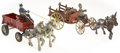 Antiques:Toys, Pair of Arcade Horse Drawn Wagons.... (Total: 2 Items)