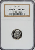 Proof Roosevelt Dimes: , 1962 10C PR69 Ultra Cameo NGC. NGC Census: (35/0). PCGS Population(51/0). Numismedia Wsl. Price for NGC/PCGS coin in PR69...