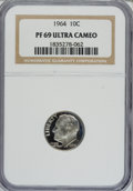 Proof Roosevelt Dimes: , 1964 10C PR69 Ultra Cameo NGC. NGC Census: (146/0). PCGS Population(261/2). Numismedia Wsl. Price for NGC/PCGS coin in PR...