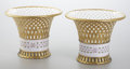 Ceramics & Porcelain, A PAIR OF FRENCH PORCELAIN RETICULATED BASKETS. Sèvres, France, 1807. Marks: M. Imp le / de Sevres / 7 stamped in red. 8... (Total: 2 Coins Items)