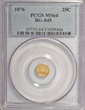 California Fractional Gold, 1876 25C Indian Round 25 Cents, BG-849, High R.5, MS64 PCGS....
