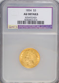 Three Dollar Gold Pieces, 1854 $3 --Scratched--AU50 NCS. AU Details. NGC Census: (141/2792). PCGS Population (270/1737). Mintage: 138,618. Numismedia ...