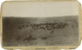 """Photography:Cabinet Photos, View by L. G. Walker, Cheyenne, Wyoming Titled """"No. 30 Rounding Em Up"""", Circa 1900. 4 5/8"""" x 7 3/8""""...."""