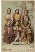 American Indian Art:Photographs, YELLOW DOG, BIG MEDICINE MAN AND WIVES, CROW . c. 1889. ...