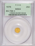 California Fractional Gold: , 1876 25C Indian Octagonal 25 Cents, BG-799C, High R.4, MS64 PCGS.PCGS Population (25/16). NGC Census: (1/2). (#10629)...