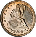 Proof Seated Quarters, 1854 25C Arrows PR64 PCGS....