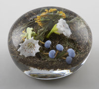 "PAUL JOSEPH STANKARD A Botanical, Blueberry, and ""Earth Spirit"" Glass Weight, 1994 Inscribed on base"