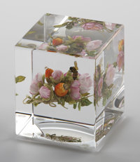 "PAUL JOSEPH STANKARD A Botanical, Insect, and ""Earth Spirit"" Glass Cube Weight, 1997 Inscribed on base: Paul..."