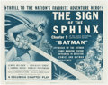 "Movie Posters:Serial, The Batman (Columbia, 1943). Title Lobby Card (11"" X 14"") Chapter 9-- The Sign of the Sphinx."". ..."