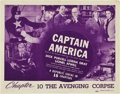 "Movie Posters:Serial, Captain America (Republic, 1944). Title Lobby Card (11"" X 14"")Chapter 10 -- ""The Avenging Corpse."". ..."