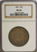 Bust Half Dollars, 1827 50C Square Base 2 MS60 NGC....