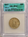 Standing Liberty Quarters: , 1917 25C Type One XF40 ICG. NGC Census: (12/1317). PCGS Population (26/2056). Mintage: 8,740,000. Numismedia Wsl. Price for...