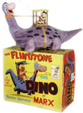 Antiques:Toys, Marx Battery Operated Fred Flintstone on Dino in theOriginal Box....