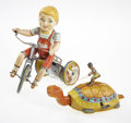 Antiques:Toys, J. Chein Tin Litho Mechanical Turtle and Unique Art Kiddy Cyclist.... (Total: 2 Items)