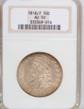 Bust Half Dollars, 1818/7 50C Small 8 AU50 NGC. PCGS Population (10/45). NGC Census:(19/1404). Numismedia Wsl. Price for NGC/PCGS coin in AU...
