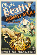 "Movie Posters:Serial, Darkest Africa (Republic, 1936). One Sheet (27"" X 41"") Episode 1 -- """"Baru - Son of the Jungle."".. ..."