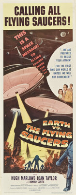 """Earth vs. the Flying Saucers (Columbia, 1956). Insert (14"""" X 36"""")"""