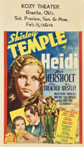 "Movie Posters:Drama, Heidi (20th Century Fox, 1937). Midget Window Card (8"" X 14"").. ..."