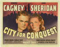 "Movie Posters:Drama, City for Conquest (Warner Brothers, 1940). Title Lobby Card (11"" X14"").. ..."