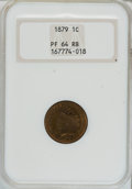 Proof Indian Cents: , 1879 1C PR64 Red and Brown NGC. NGC Census: (70/95). PCGS Population (144/104). Mintage: 3,200. Numismedia Wsl. Price for N...