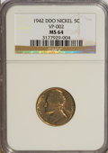 Jefferson Nickels, 1942 5C DDO Type One MS64 NGC. VP-002. NGC Census: (29/251). PCGSPopulation (36/327). Mintage: 49,818,600. Numismedia Wsl...
