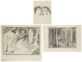 animation art:Production Drawing, Kay Nielsen Sleeping Beauty Animation Concept DrawingOriginal Art, Group of 3 (Disney, 1959).... (Total: 3 Items)