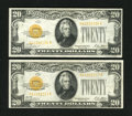 Small Size:Gold Certificates, Fr. 2402 $20 1928 Gold Certificates. Two Consecutive Examples. Extremely Fine.. ... (Total: 2 notes)