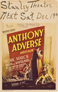 """Movie Posters:Adventure, Anthony Adverse (Warner Brothers, 1936). Autographed Window Card(14"""" X 22"""").. ..."""
